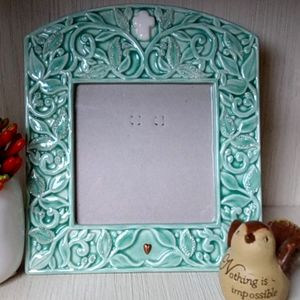 TEAL ENESCO CERAMIC CHRISTIAN PHOTO FRAME